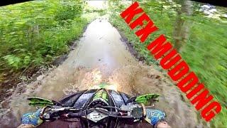 KFX 450R MUDDING & CHASING TURKEYS - Kfx 450r Moto Vlog #39