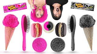PINK VS BLACK FOOD CHALLENGE! || One Color Of Food by 123 Go! GENIUS