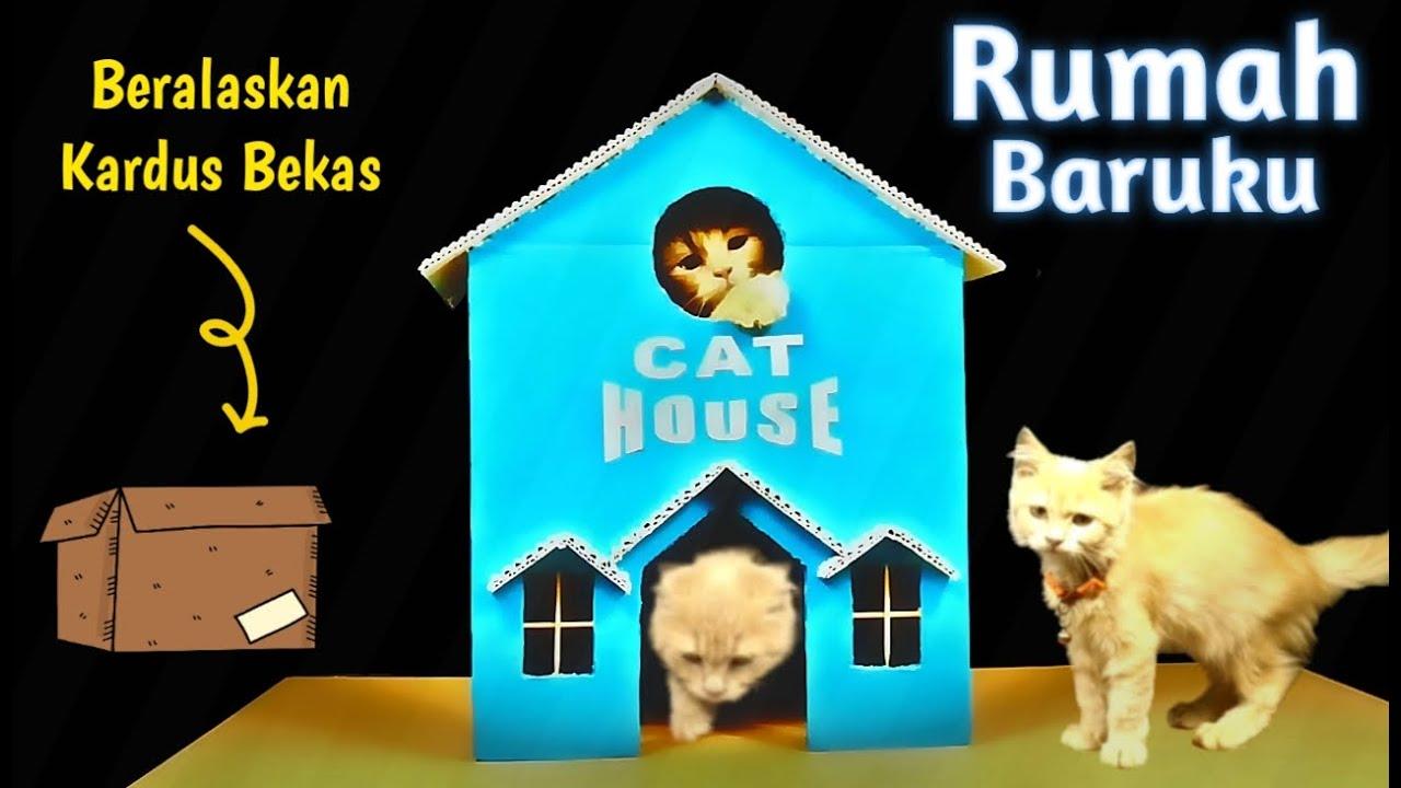 Cara membuat rumah kucing - how to make a simple cardboard ...