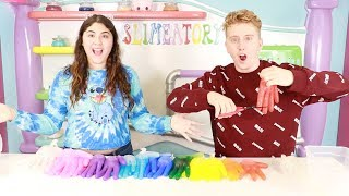 3 COLORS OF GLUE SLIME GLOVES CHALLENGE WITH PAUL ~ Slimeatory #423