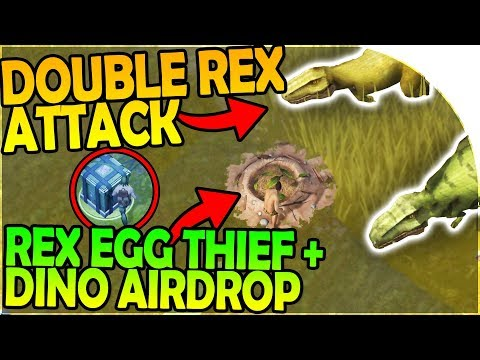 DOUBLE REX ATTACK - REX NEST EGG STEALING + DINO AIRDROP - Jurassic Survival Gameplay