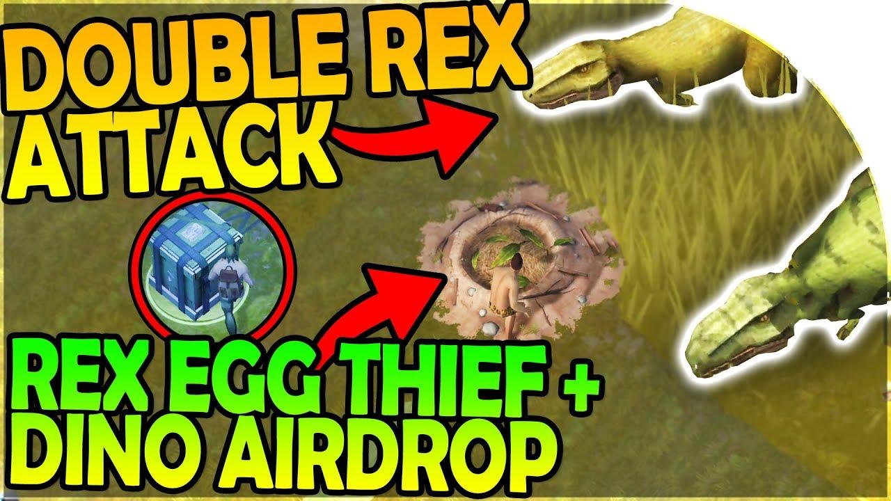 DOUBLE REX ATTACK – REX NEST EGG STEALING + DINO AIRDROP – Jurassic Survival Gameplay