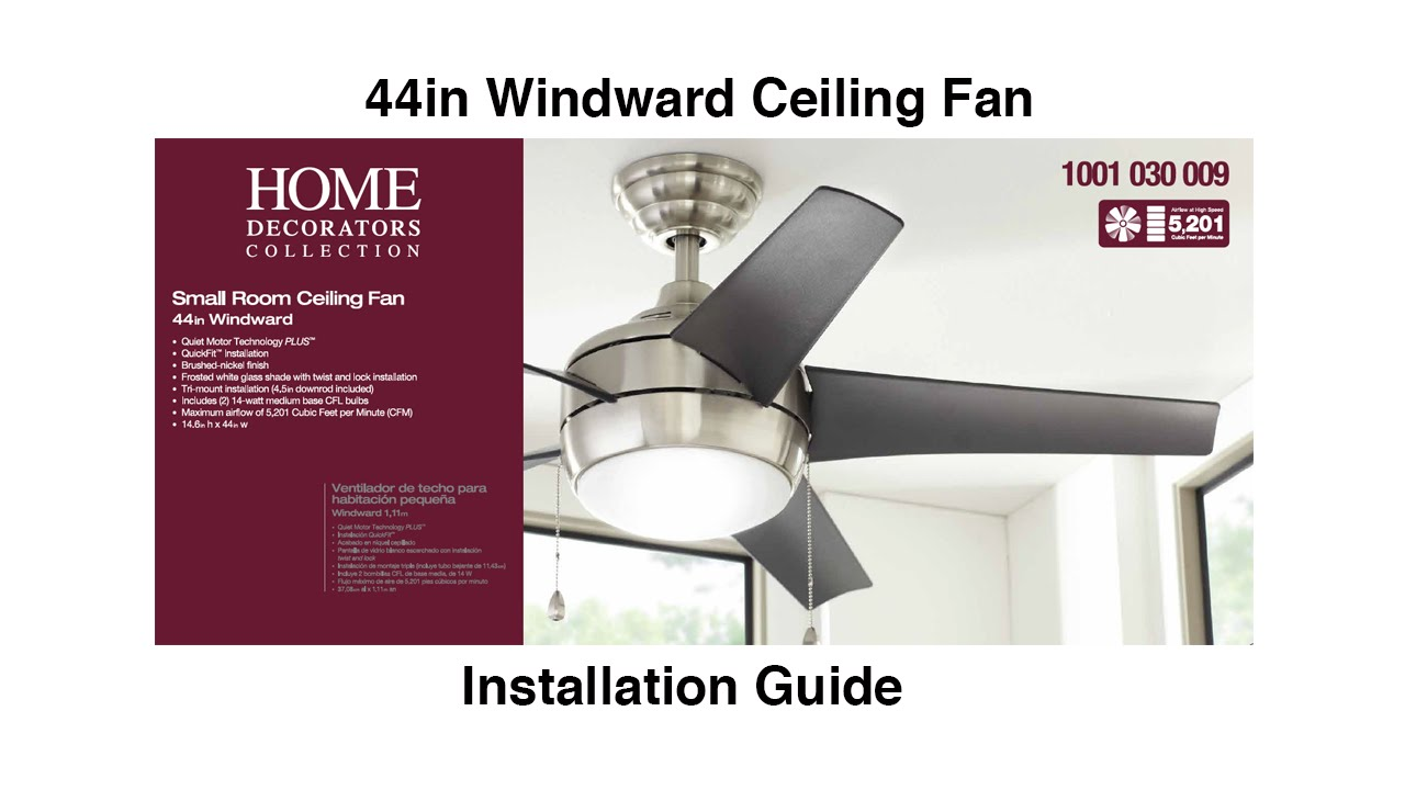 How to install 44 in windward ceiling fan youtube aloadofball Choice Image