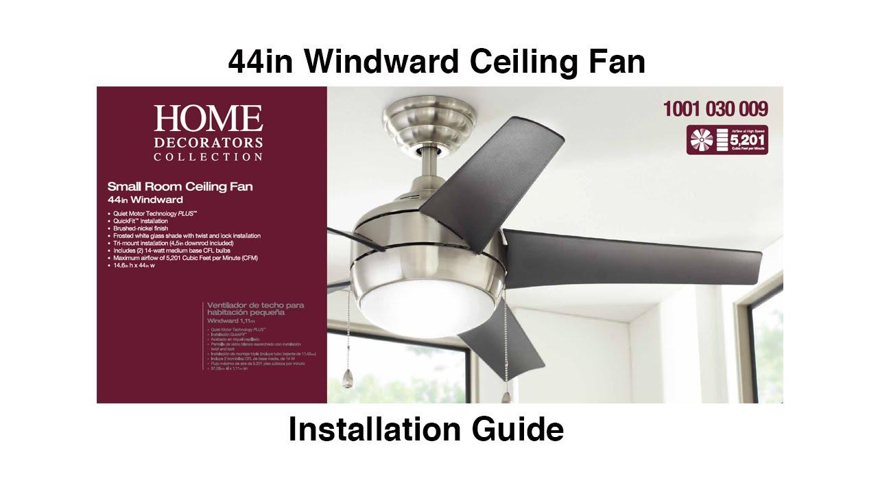 How to install 44 in Windward Ceiling Fan Hampton Bay Windward Iv Ceiling Fan Wiring Diagram on