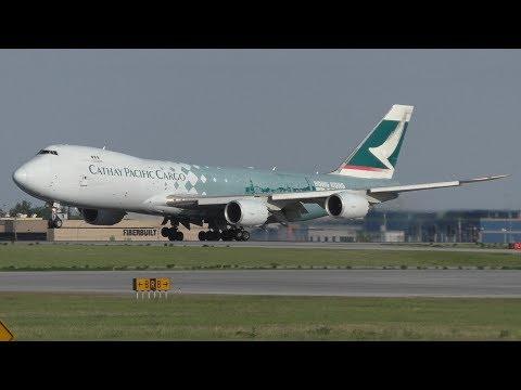 """Cathay Pacific Cargo """"Hong Kong Trader"""" 747-867F [B-LJA] Landing and Taxi at Calgary Airport ᴴᴰ"""