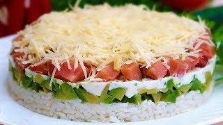 Слоеный салат с рыбой и авокадо  Без майонеза легкий и полезный
