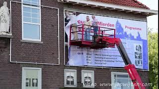 Banner Reusel-De Mierden 75 jaar bevrijd hangt