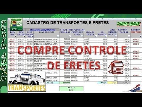 b094b35add Planilha de Controle e Cadastro de Fretes para transporte de cargas - R$  30,00