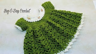 How To Crochet - Baby Dress | Lil Sprout | 0-6 months | Bag-O-Day  Crochet TUTORIAL #363