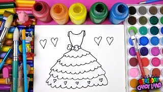 Coloring Pretty Dress Painting Pages for Kids to Learn Drawing Coloring and Painting 💜