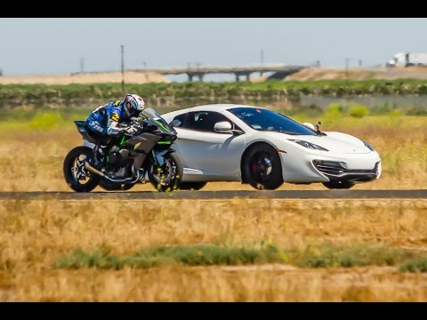 Kawasaki H2R vs McLaren MP4-12C Supercar – 1/2 Mile Airstrip Race 1