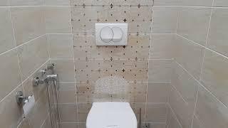 Ремонт квартиры. Ванная комната и туалет. Резной потолок<