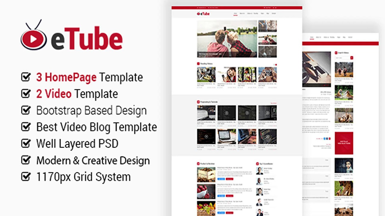 eTube - Video Blog Site PSD Template   Themeforest Website Templates and  Themes