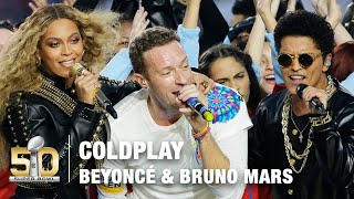 Repeat youtube video Coldplay's FULL Pepsi Super Bowl 50 Halftime Show feat. Beyoncé & Bruno Mars! | NFL