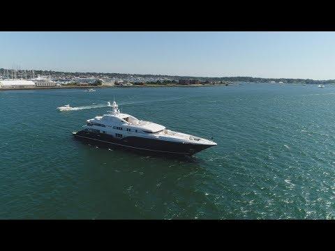 Sycara V Mega Yacht, Newport, RI (DJI Phantom 4 Pro Drone) [4K]