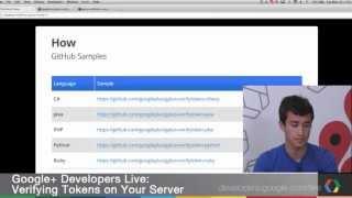 Google+ Developers Live: Verifying Tokens on Your Server