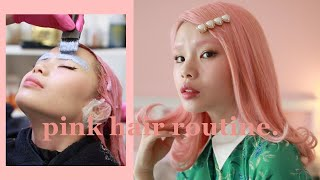 my pastel pink hair touch up routine 🌷 bleach + color + eyebrows? lol