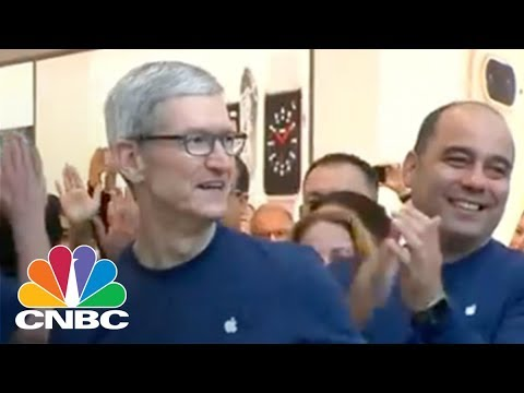 Apple CEO Tim Cook Visits Apple Store On iPhone X Launch   CNBC