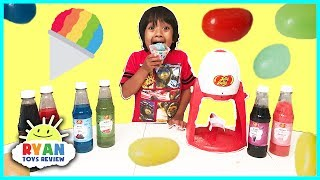 Jelly Belly Candy Electric Snow Cone Maker! DIY homemade Ice Shaver with Ryan ToysReview