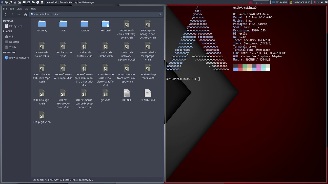 ArcoLinux : 890 Installing the Personal folder on ArcoLinuxD Qtile