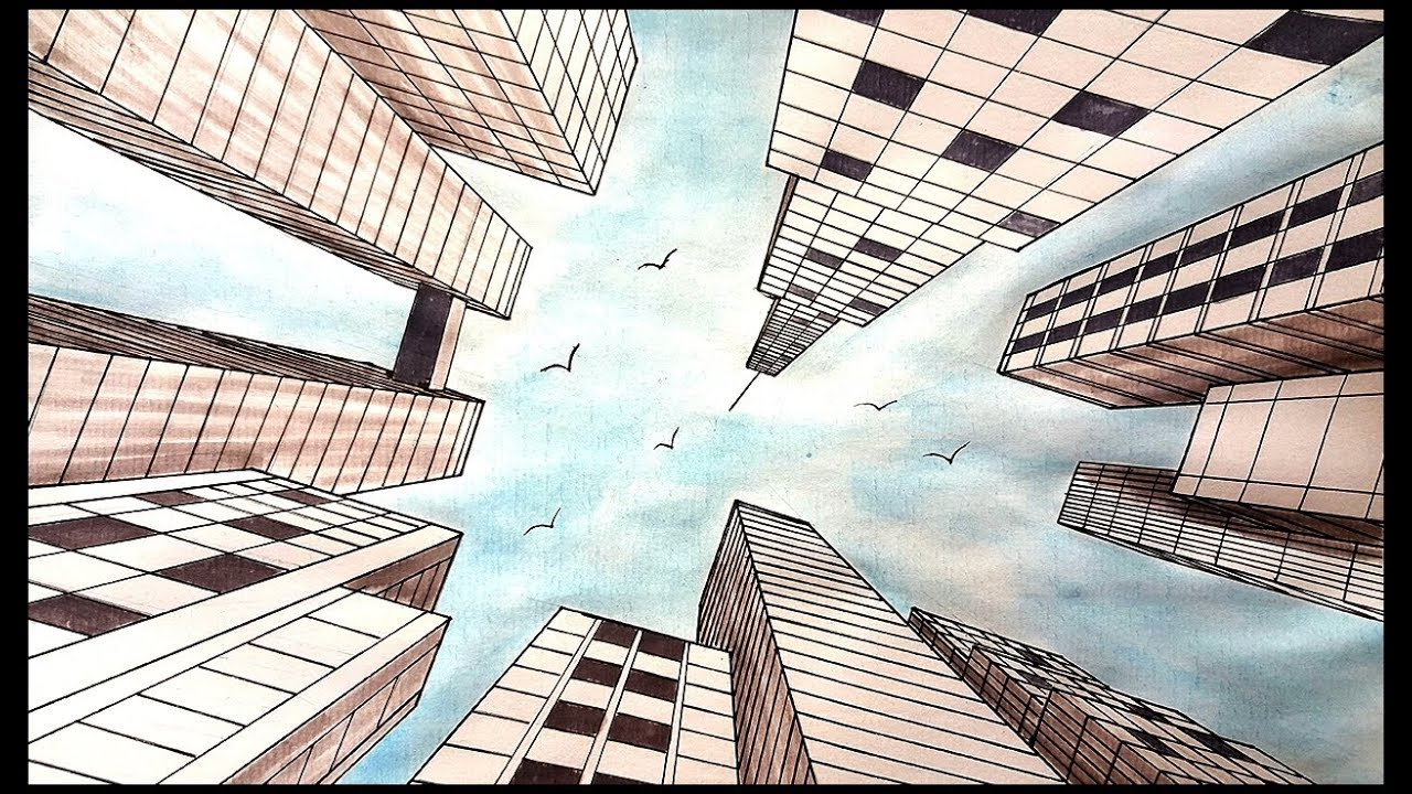 Drawing A City in one point perspective | Looking Up View ...