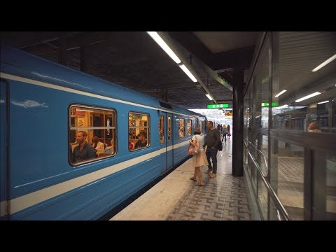 Sweden, Stockholm, subway ride from Gamla Stan to T-Centralen, 4X escalator
