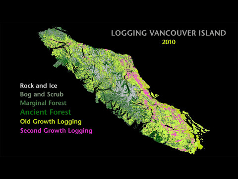 Maps Showing the Disappearance of Old-Growth Forests on Vancouver Island - 1900 to 2016