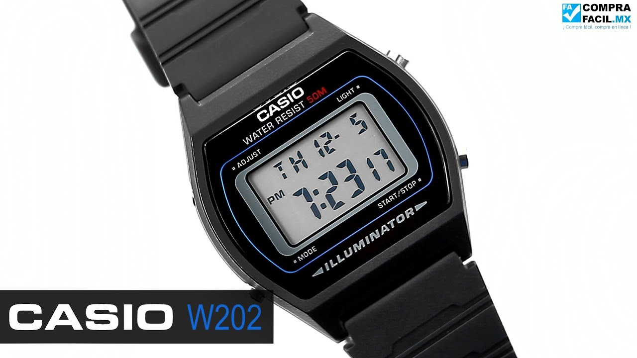 ea90fa89686d Reloj Casio Retro W202 Negro - www.CompraFacil.mx - YouTube