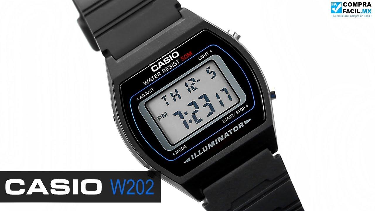 081a16173599 Reloj Casio Retro W202 Negro - www.CompraFacil.mx - YouTube