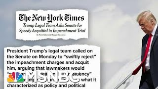 Trump's Legal Defense Team Won't Deny His Actions, Just Say Not Impeachable | Deadline | MSNBC
