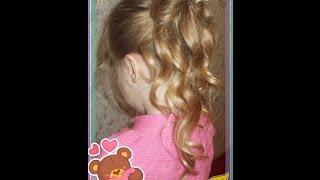 ❤ Детская прическа на утренник с помощью косы из 3-х прядей и локонов. ❤ Children's hairstyle ❤