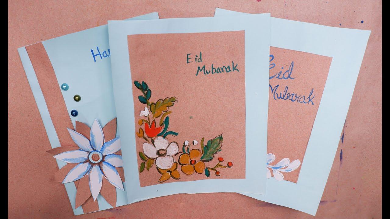 home made eid card design  easy design of eid card  eid