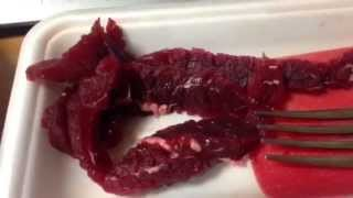 Whale meat on sale in super
