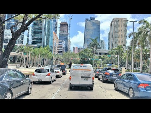 Driving Downtown - Miami Main Street 4K - USA