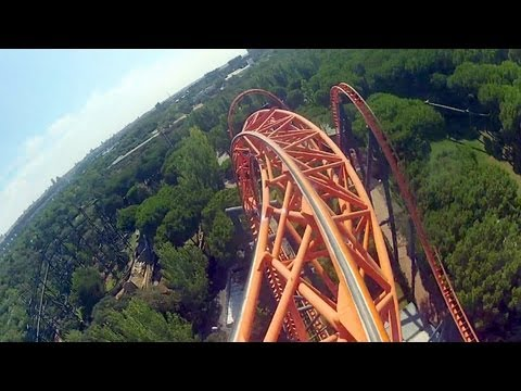 Abismo front seat on-ride HD POV Parque de Atracciones de Madrid
