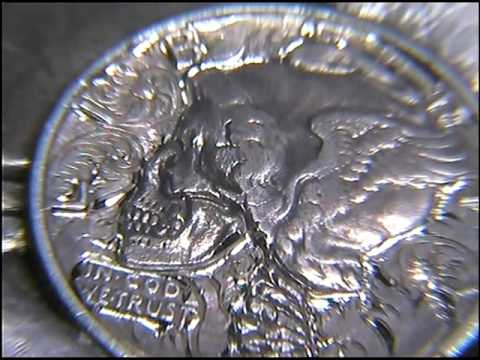 1944 Hand Engraved Scrollwork On a Carved Skull and Spine Dime