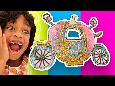Glitter Toy Art ! Cute Princess Carriage Coloring & Play