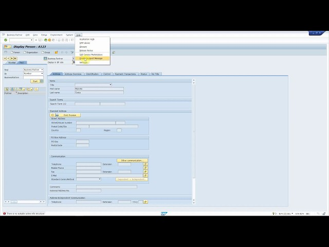 SAP Solution Manager Service Desk: reporting a functional problem int transaction BP