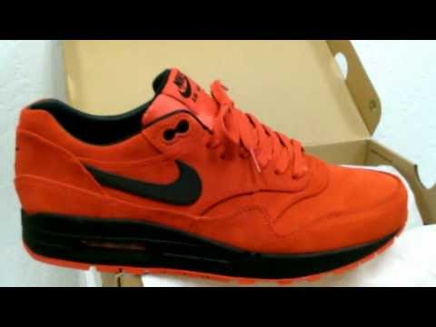 NIKE AIR MAX 1 *PREMIUM* PIMENTO RED SUEDE/BLACK 3M SWOOSH REVIEW IN HD 1080p