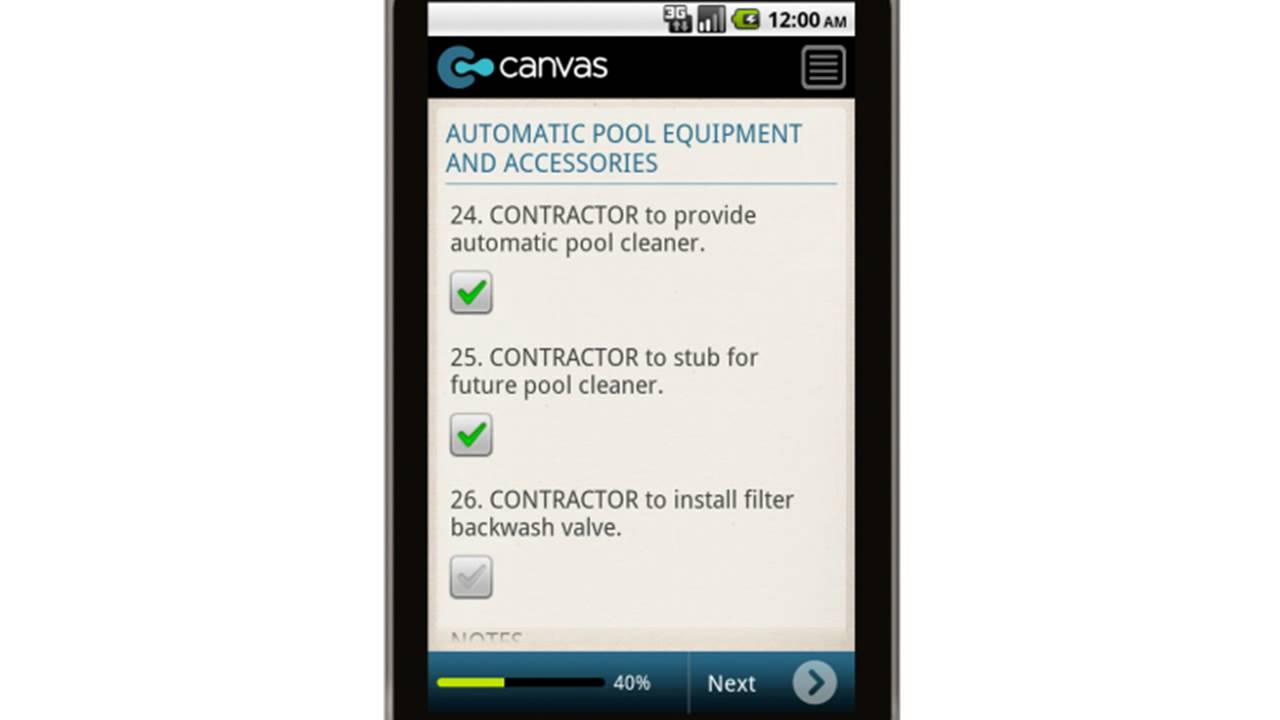 Canvas Swimming Pool Construction Contract Specifications Mobile App Youtube
