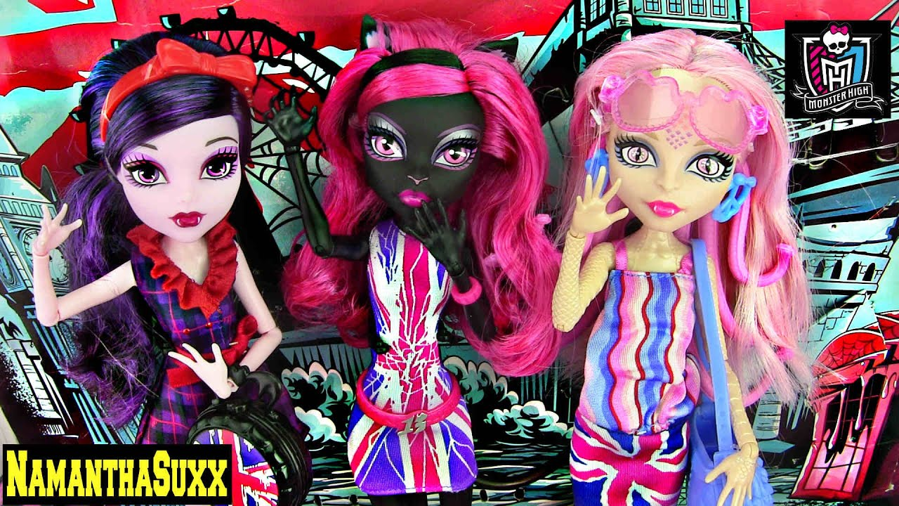 Lovely MONSTER HIGH GHOULEBRITIES IN LONDOOM CATTY NOIR ELISSABAT VIPERINE GORGON PACK DOLL REVIEW VIDEO YouTube