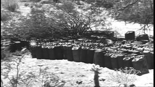 The US Army IX Corps soldiers operating anti-aircraft guns at a desert training c...HD Stock Footage