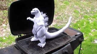 no template, just me showing off, Godzilla papercraft burning
