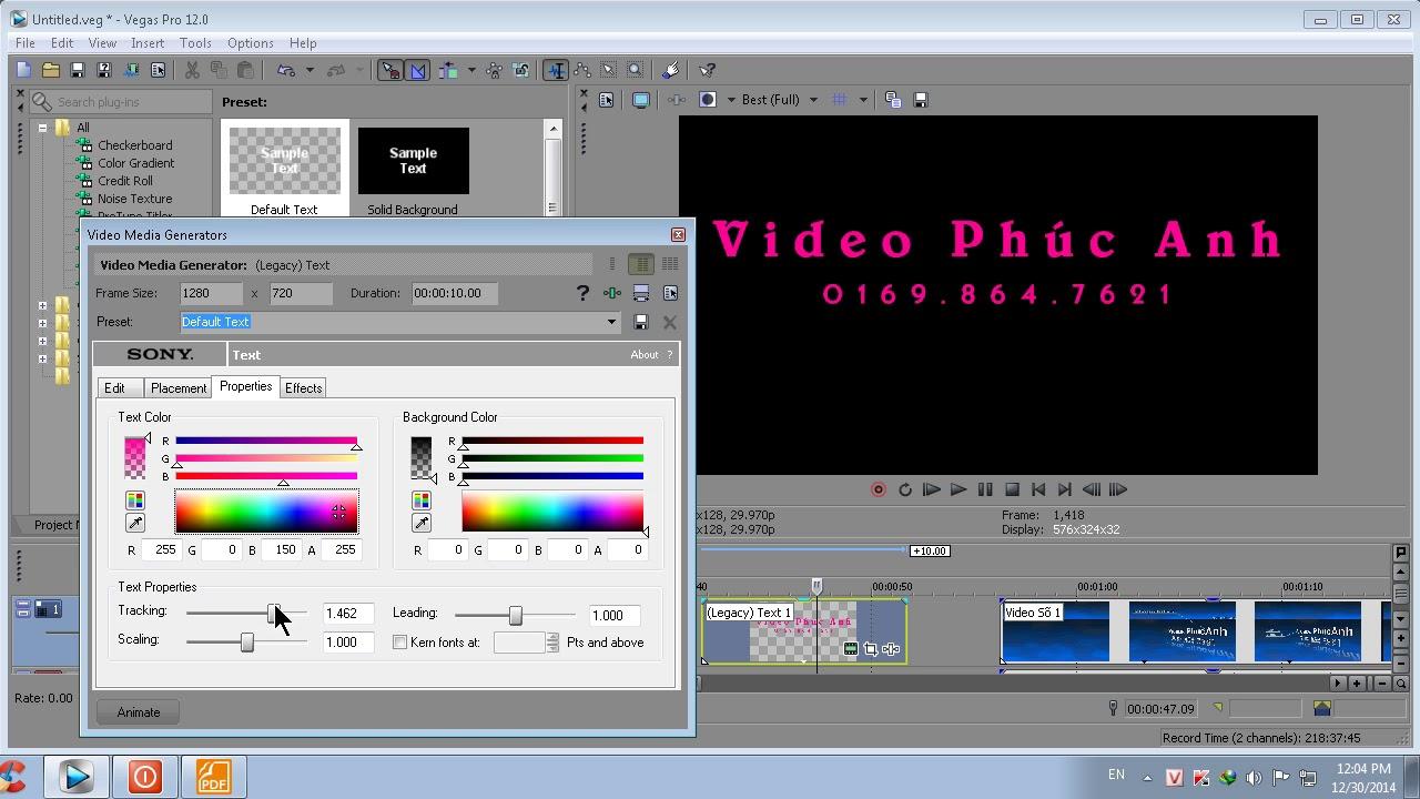 Chèn chữ cho video trong Sony Vegas