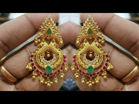 Traditional Gold Chandbali Earrings Designs 2018