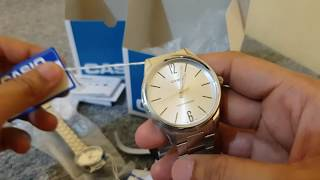 Casio Stainless Steel Couple Watch with very Low Price MTPV005D-7B LTPV005D-7B Unboxing