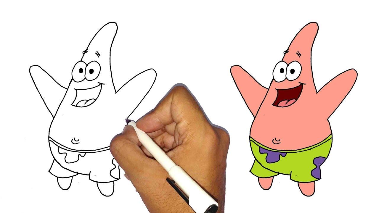 تعليم الرسم للاطفال كيف ترسم بسيط من سبونج بوب خطوة بخطوة