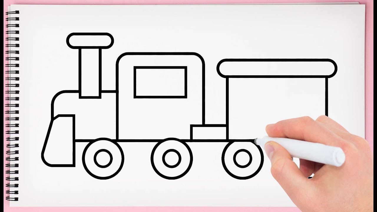 How To Draw Train Step By Step Learn Drawing A Train Toy Easy For
