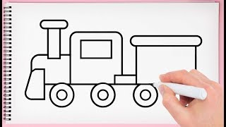 How to Draw Train Step by Step Learn Drawing a Train Toy Easy for Kids