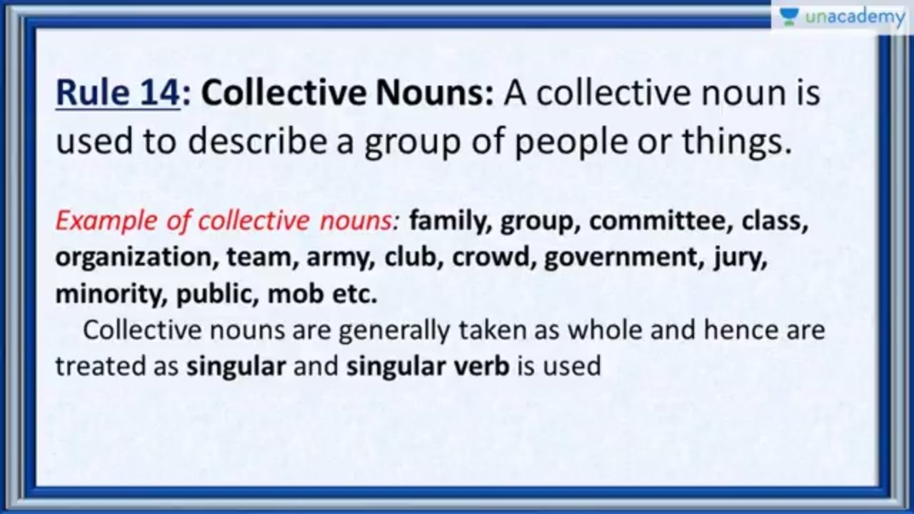 Subject Verb Agreement Rule 14 Collective Nouns And Their Verbs